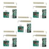 HALJIA Módulo transmisor y Receptor inalámbrico de 5 Unidades de 433 MHz, Compatible con Arduino Raspberry Pi