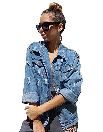 Minetom Damen Herbst Beiläufig Stilvoll Button Down Denim Gewaschene Mit Patches Jean Jacket Mantel Lose Jeansjacke Outwear (DE 36, Dunkelblau)