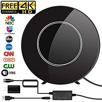 [Newest 2019] TV Antenna,Indoor Digital HDTV Antenna Amplified 150Miles Range Support 4K 1080P VHF UHF & All TV's Digital Antenna with 17ft Coax Cable/USB Power Adapter (Black)