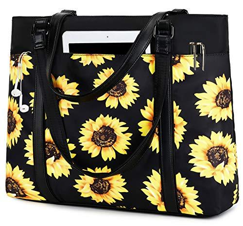 Women Laptop Tote Bag for Work Sunflower Handbag Purse Shoulder Bag Lightweight Nylon Laptop Bag for 15.6 Inch