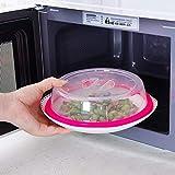 Fliyeong - Funda para placa de microondas, tapa protectora contra salpicaduras, cubierta de microondas, cubierta para el tazón de microondas, sin BPA, color rosa caliente, rentable y de buena calidad