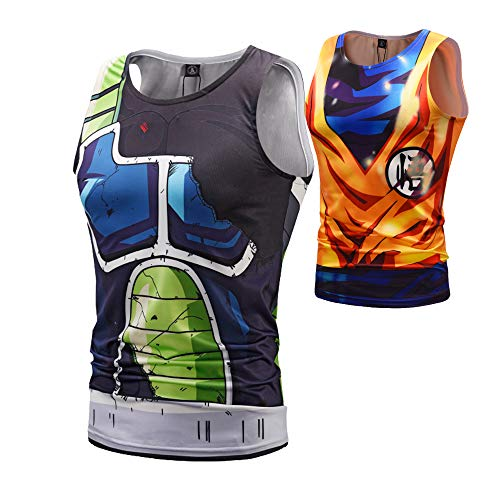 Anime Hero Dragon Ball Super Saiyan God Goku & Battle Damaged Onyx Bardock Workout Compression Tank Tops for Men