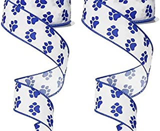 Wired Ribbon Bundle Set of 2 Paw Print Theme in Blue/White 1.5 Inches x 10 Yards for Wreaths, Gift Wrapping, Floral Arrangements, Crafting