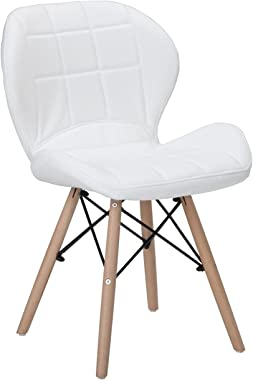 Finch Fox Eames Replica Modern Designer Faux Leather Dining Chair for Cafe Chair, Side, Living Room Chair in White Color
