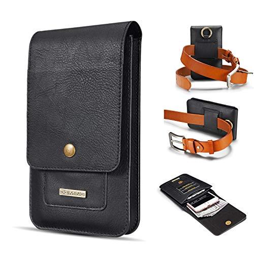 Teléfono clips de cinturón Cuero auténtico Funda bolsa for iPhone SE 2020 X XS XR 11 6 7 8, for Samsung S8, S9, s10e, A10E, caja de la carpeta A20e Cinturón con ranura for tarjeta Clip +, doble capa u