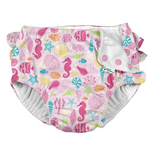 i Play Girls Swim Diaper Pink Sealife-3T