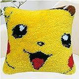 Kits de crochet de verrouillage for adultes Grand bricolage main Artisanat Fils Coussin broderie Artisanat Croix Kits point for adultes enfants Pokemon Pikachu 40 * 40cm (Size : Color grid)