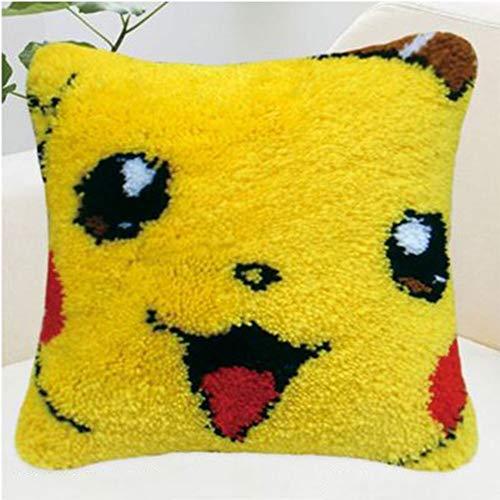 Kit de Ganchillo Kit de gancho de retención for adultos cojín grande Latch Hook Kit DIY arte hecho a mano hilo de bordar Crafts Cruz Kit de puntada for adultos de los niños de Pokemon Pikachu 40 * 40c