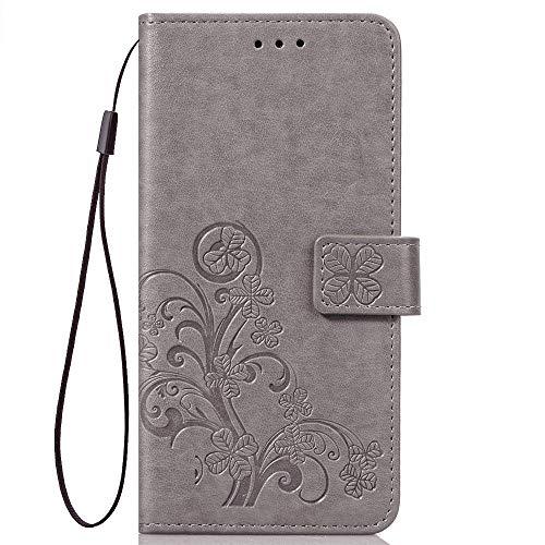 LAGUI适用于小米Redmi Go机套,带浮雕设计的钱包套,配有挂绳。 灰色