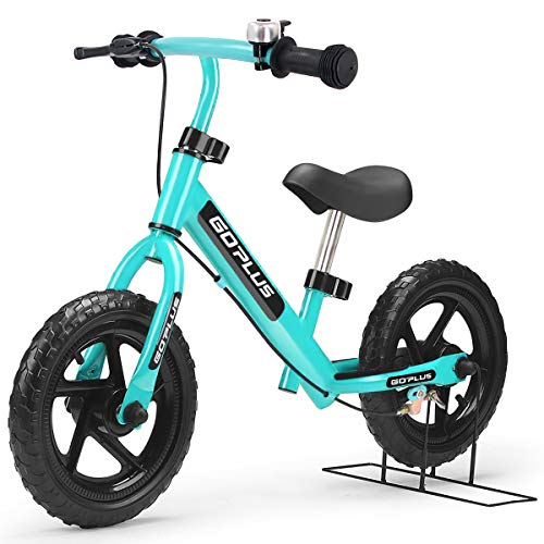 """Goplus 12"""" Kids Balance Bike, No Pedal Bicycle w/Adjustable Bar and Seat, Brake, Bell Ring, Stand, for Ages 3 to 6 Years, Pre Bike Push Walking Bicycle (Blue)"""