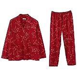Zjcpow Pijama de Mujer Botón for Mujer Ropa de Dormir Abajo del Pijama Pantalones Ropa de Dormir Conjunto Loungewear clásico Nightclothes Conjunto cómodo Fino (Color : Red, Size : XL)