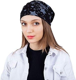 Makarthy Unisex Wrinkled Beanies Slouchy Stars Sleep Chemo Cancer Cap for Hairloss Cancer Chemo Turban