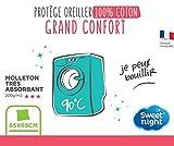 Sweetnight - Protège Oreiller 65x65 cm | 100% Coton | Anti-rétrécissement | Molleton Absorbant | Silencieux et Respirant | Lavable à 90°C | Fermeture à Rabat