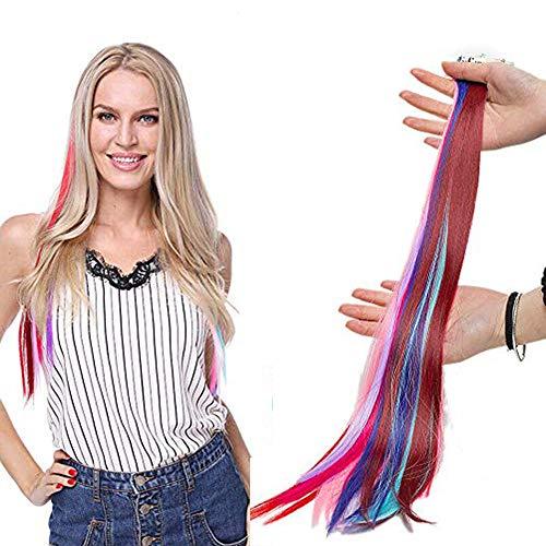 10 Pcs Bunte Clip Haarverlängerungen Haarsträhnen Regenbogen Farbiger Haarteil 10 Farben Mehrfarbig-1 Glatt-10pcs-80g