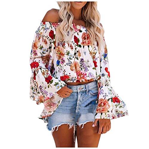 Inawayls Bluse Damen Elegante Schulterfreie Oberteile Laterne Ärmel Cotton Solid Sexy Bluse