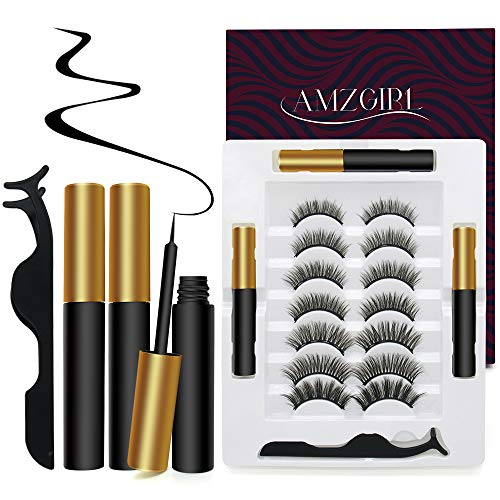 Magnetic Eyeliner and Lashes Kit 7 Pairs Upgraded 3D No Glue Reusable Magnetic Lashes With 3 PCS Magnetic Eyeliners and Tweezer Inside,Magnetic Eyelashes Kit Natural Look