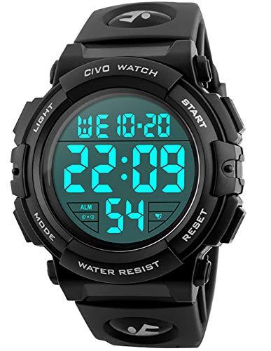 CIVO Herren Uhren Digital Jugendliche Jungen Sport Militär Uhr Große Nummern 50M Wasserdicht Einfach Entwurf Army Herrenuhr LED Beleuchtung Beiläufig Armbanduhr Gummi Schwarz