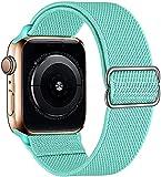 Hspcam Correa de nailon elástica ajustable para Apple Watch, compatible con banda elástica de 42 mm, 44 mm, 38 mm, 40 mm, para iWatch Series SE/6/5/4/3/2/1 (para 38 mm y 40 mm), verde menta