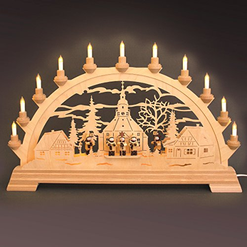 Taulin Kunstgewerbe Elektrischer Lichterbogen Seiffner Kirche mit Sternsänger und Laternenkinder