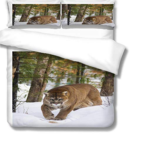 Double Bedding Duvet Cover 3D Tigers in the snow animals woods Printed Quilt Cover Super Soft Quilt Cover 220x230cm with 2 Pillowcase 50x75cm for girls adults