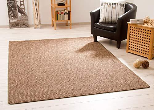 Steffensmeier Kurzflor Teppich Meddon Melange   Schlingenteppich für Esszimmer in Braun, GUT Siegel, Größe: 80x300 cm