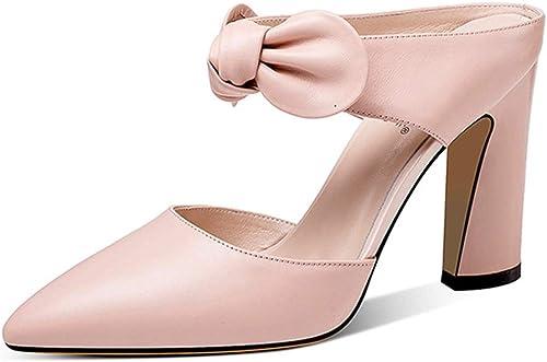 Sandales pour les femmes parti chaussures chaussures talons hauts d'été en cuir Sandales Chaussures de mariage femmes rugueux Design talon, Hauteur du talon 8.5cm ( Couleur   noir , Taille   35 )