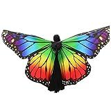 K-youth Danza Del Vientre Mariposa Alas De ángel Adulto Suave Rainbow Mariposa Alas Danza Disfraz Accesorio Alas De Mariposa Tela Chal Bufanda Señoras Vestido Para Disfraz (Multicolor)