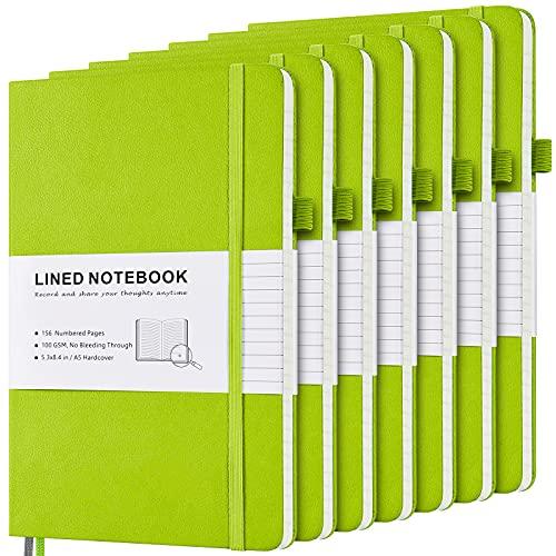 Pack de 7 cuadernos con rayas, tapa dura, con páginas numeradas e índice, 2 bolsillos interiores, 2 marcapáginas de 100 g/m², papel grueso A5, cuaderno de notas forrado, color verde