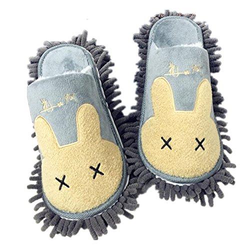Pormow 1 Paar Multifunktions Putz-Hausschuhe mit Reinigender Bodenreinigung Slippers Shoe Cover Mikrofaser-Sohle (EANEs-31)
