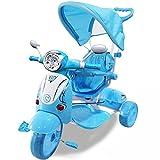 BAKAJI Triciclo Passeggino Scooter Vespina a Pedali a Spinta con Protezioni di Sicurezza per Bambini...