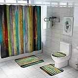 Vlejoy Impermeable Color Madera Impresión De Grano Cortina De Ducha Estera Absorbente De Agua Baño Baño Estera Set Partición 4pcs