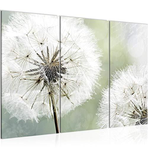 Runa Art Pusteblume Bild Wandbilder Wohnzimmer XXL Grau Grün Natur 120 x 80 cm 3 Teilig Wanddeko 207131a
