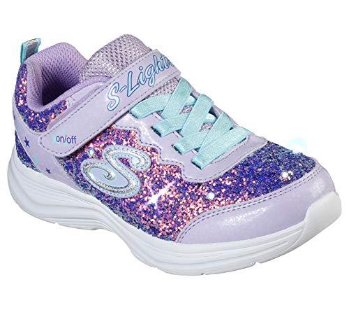 Skechers Kids Girls' Glimmer Kicks Sneaker, Lavender/Aqua, 12.5 Medium US Little Kid