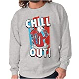 Brisco Brands Officially ICEE Logo Chill Out Womens Mens Crew Sweatshirt Sport Grey