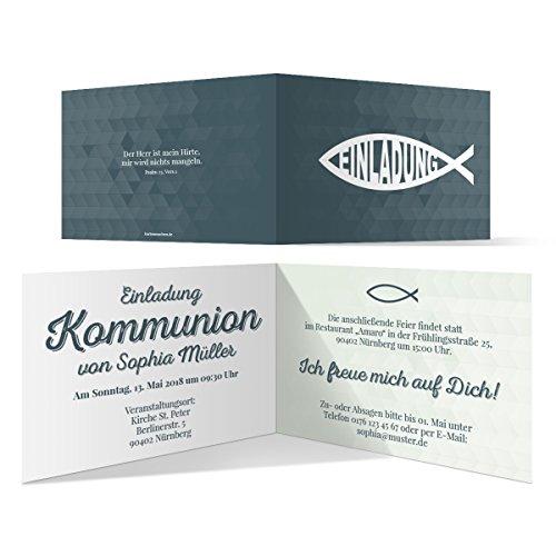 10 x Kommunion Einladungskarten Kommunionseinladungen Kommunionskarten - Moderner Jesus Fisch