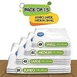 Vakuum Aufbewahrungsbeutel – Set mit 15 Stück (3 jumbo (100x80cm) + 4 große (80×60) + 4 mittlere (70×50) + 4 kleine (60×40)) wiederverwendbare Platzsparwunder mit kostenloser Handpumpe für das Reisegepäck. Bester Versiegelungsbeutel für Kleidung, Bettdecken, Bettwäsche, Kissen, Wolldecken, Vorhänge - 3