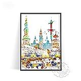 linbindeshoop Cartel de impresión de Acuarela de Ciudad Moderna Venecia Alemania Arte de Pared Las Vegas Estocolmo Budapest Cartel de impresión Sydney Londres Viajes(LT-1534) 40x60cm Sin Marco