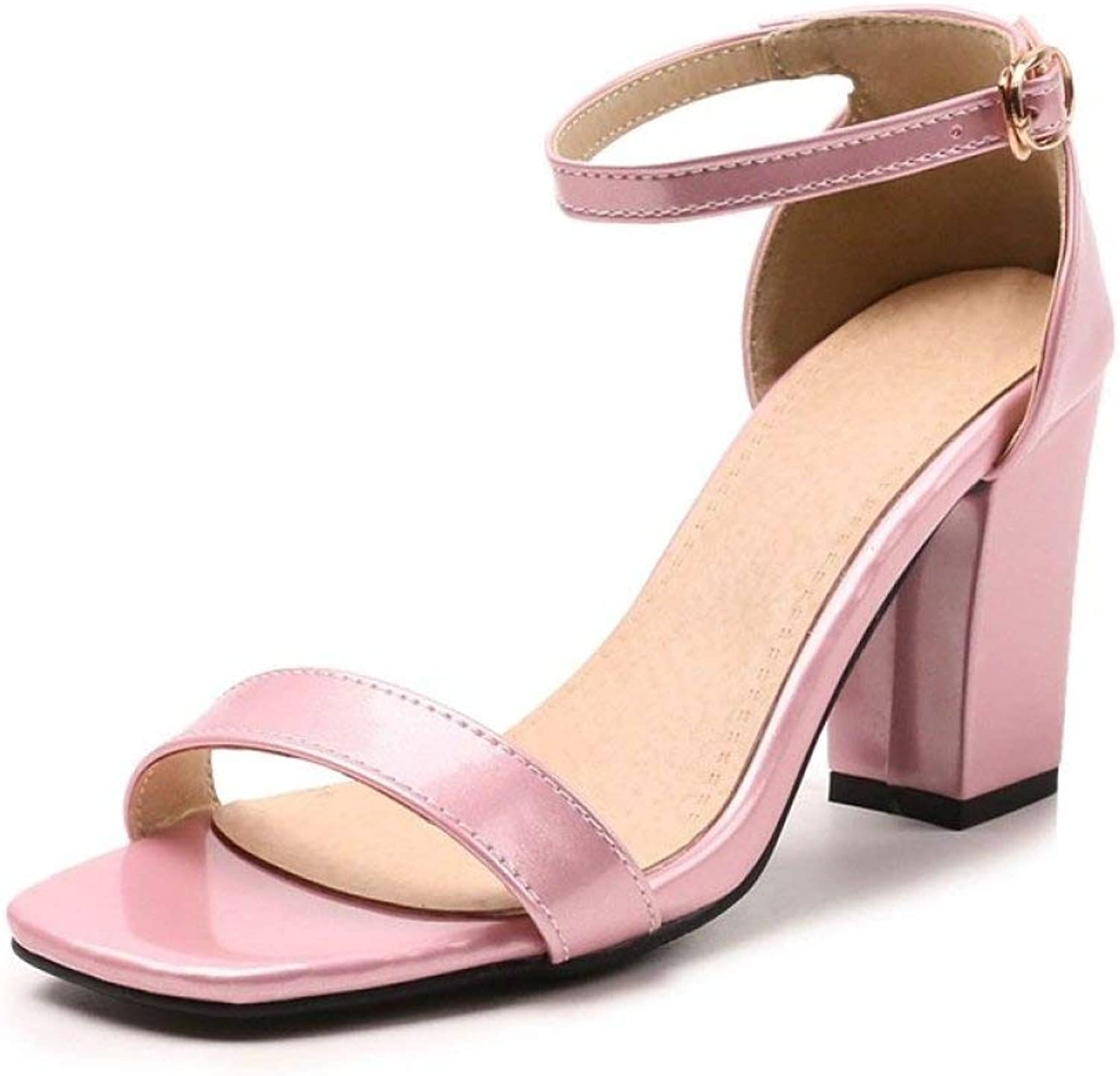 JOYBI Women Fashion Open Toe Sandals Ankle Buckle Strap Slip On Summer Party Office Chunky Thick Heels Sandal