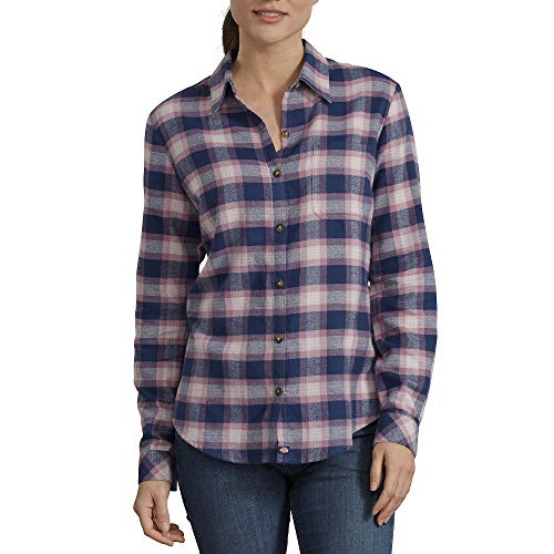Dickies womens Long-sleeve Plaid Flannel Work Utility Button Down Shirt, Deep Blue/Wild Thistle Plaid, XX-Large US