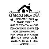 Le Regole della Casa Italiano Adesivi da Parete Muro Adesivo Murali Decorativo Decorazione fai da te Domestica Porta Camera da Letto Soggiorno