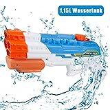 infinitoo Wasserpistole Spritzpistole 4 Düsen Water Gun mit 1,15 Liter Wassertank, 8-10 Meter...