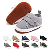 ENHERO Baby Boys Girls Shoes Infant Canvas Sneakers Soft Sole 100% Leather Anti-Slip Sole Hook and Loop Newborn Infant First Walkers Crib Shoes(13cm,12-18 Months Toddler, B/Grey)