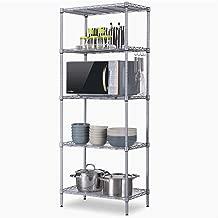 Unidad de estante Estantería metalicas almacenaje Estantería de cubos Estante de Cocina Multi-función Estante de almacenamiento multicapa de piso Estante de metal de hierro-Silver-55cm