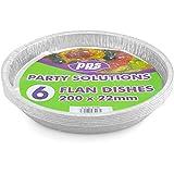 Party & Paper Solutions 6X Grande Feuille Ronde Moules à flan jetables–200mm x 22mm Plateau Livraison Gratuite