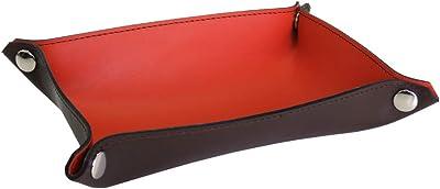 (シールアル) レザートレー Lサイズ 長方形 バイカラー マルチトレイ デスク 卓上 小物置き アクセサリー収納 日本製 本革 革 CLuaR-BI (04.オレンジ×チョコ)