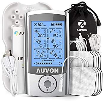 AUVON Rechargeable TENS Unit Muscle Stimulator 3rd Gen 16 Modes TENS Machine with 8pcs 2 x2  Premium Electrode Pads  American Gel  for Pain Relief