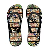 Una pieza anime de una pieza zapatillas de anime sandalias de playa para mujeres hombres actividades diarias interiores al aire libre, color Negro, talla Medium/Large