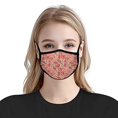 Cheyan Respirators Mode Mond Unisex Anti-Stof Vervuiling Fietsen Half Oorlus Voor Volwassen Vrouwen Mannen Paisley Oranje Rode Bandana