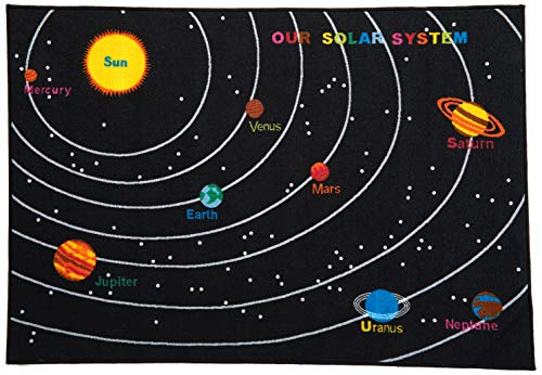 Play Time Kids Reversible Area Rug Solar System Learning Carpet Game Room Black Design 6 (4 Feet X 5 Feet 9 Inch)