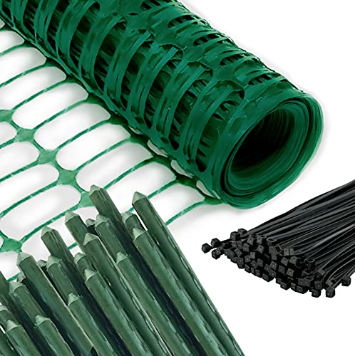Safety Fence + 10 Steel Plant Stakes, Extra Strength Mesh Snow Fencing, Temporary Green Plastic Garden Netting 3x50 Feet Fence & 10, 3 Foot Stakes, Above Ground Barrier for Construction Dogs Plants